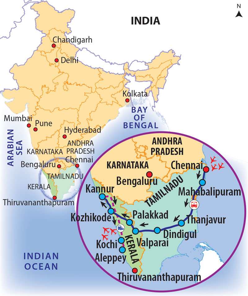 Pure Kerala Tours | Small Group Tours to Kerala & Southern India on kerala political map, kerala road map, karnataka tourism map,